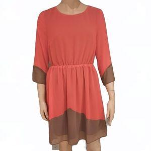 Ark&Co a line orange woman  sleeved dress medium